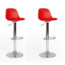 "Lot de 2 Tabourets de Bar ""Jerriz"" 82-103cm Rouge"