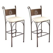"Lot de 2 Chaises de Bar ""Poz"" 110cm Bronze & Ivoire"