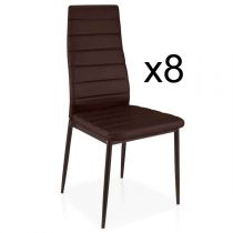 "Lot de 8 Chaises Design ""Kaïus"" 95cm Marron"