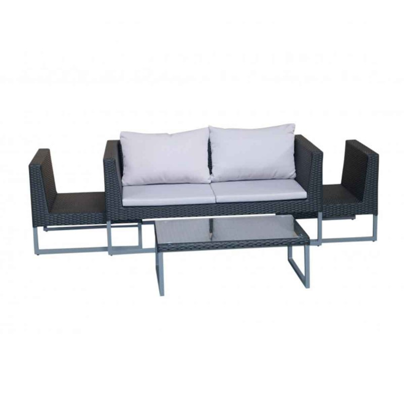 Salon de jardin en r sine tress e tepik 4 places gris noir - Salon de jardin resine 4 places ...