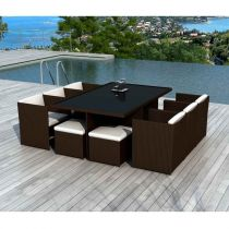 "Ensemble Table de Jardin 8 Places ""Palm Beach"" 115cm Chocolat & Écru"