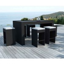 "Table de Bar & 6 Tabourets de Jardin ""Taxco"" 200cm Noir"
