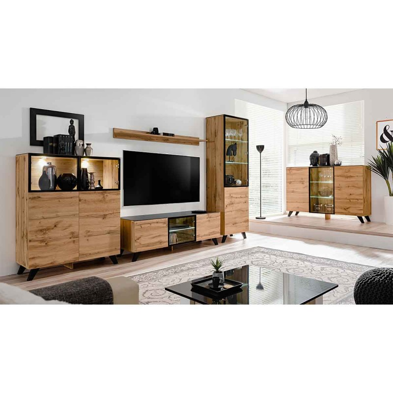 meuble tv design led thin 150cm noir naturel. Black Bedroom Furniture Sets. Home Design Ideas