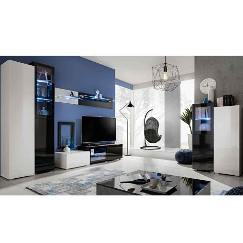 ensemble meuble tv biblioth que skyline noir blanc brillant. Black Bedroom Furniture Sets. Home Design Ideas