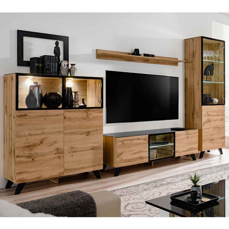 ensemble meuble tv biblioth que thin noir naturel. Black Bedroom Furniture Sets. Home Design Ideas