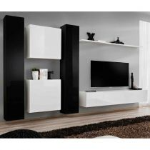 "Meuble TV Mural Design ""Switch VI"" 330cm Noir & Blanc"