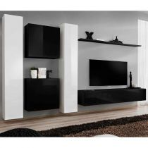 "Meuble TV Mural Design ""Switch VI"" 330cm Blanc & Noir"