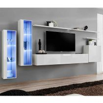 "Meuble TV Mural Design ""Switch XI"" 330cm Blanc"