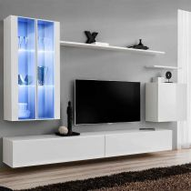 "Meuble TV Mural Design ""Switch XII"" 270cm Blanc"