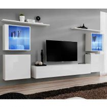 "Meuble TV Mural Design ""Switch XIV"" 320cm Blanc"