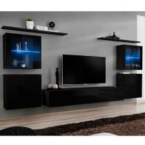"Meuble TV Mural Design ""Switch XIV"" 320cm Noir"