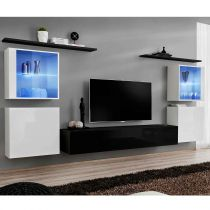 "Meuble TV Mural Design ""Switch XIV"" 320cm Noir & Blanc"