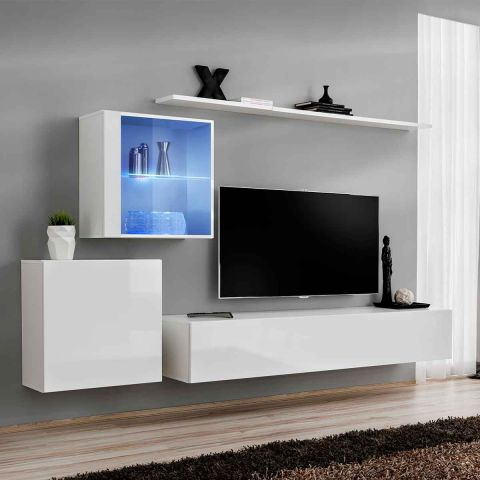 meuble tv mural design switch xv 250cm blanc. Black Bedroom Furniture Sets. Home Design Ideas