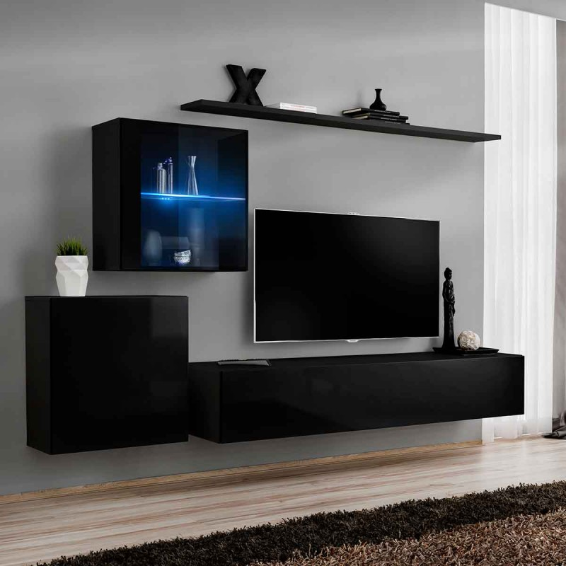 meuble tv mural design switch xv 250cm noir. Black Bedroom Furniture Sets. Home Design Ideas