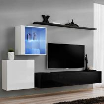 "Meuble TV Mural Design ""Switch XV"" 250cm Noir & Blanc"
