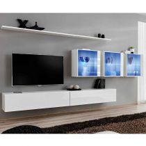 "Meuble TV Mural Design ""Switch XVII"" 330cm Blanc"