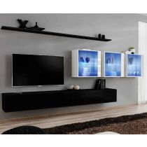 "Meuble TV Mural Design ""Switch XVII"" 330cm Noir & Blanc"