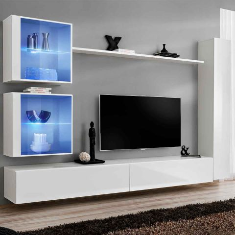 meuble tv mural design switch xviii 280cm blanc. Black Bedroom Furniture Sets. Home Design Ideas