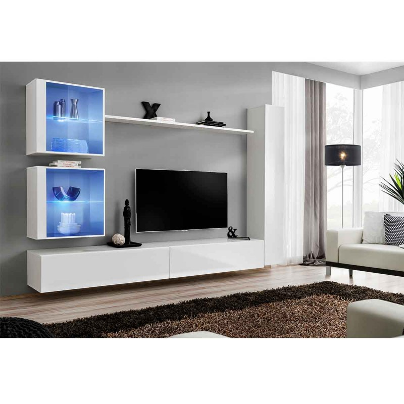 Meuble tv mural design switch xviii 280cm blanc for Meuble xviii