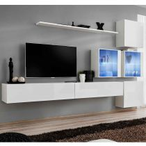 "Meuble TV Mural Design ""Switch XIX"" 310cm Blanc"