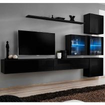 "Meuble TV Mural Design ""Switch XIX"" 310cm Noir"