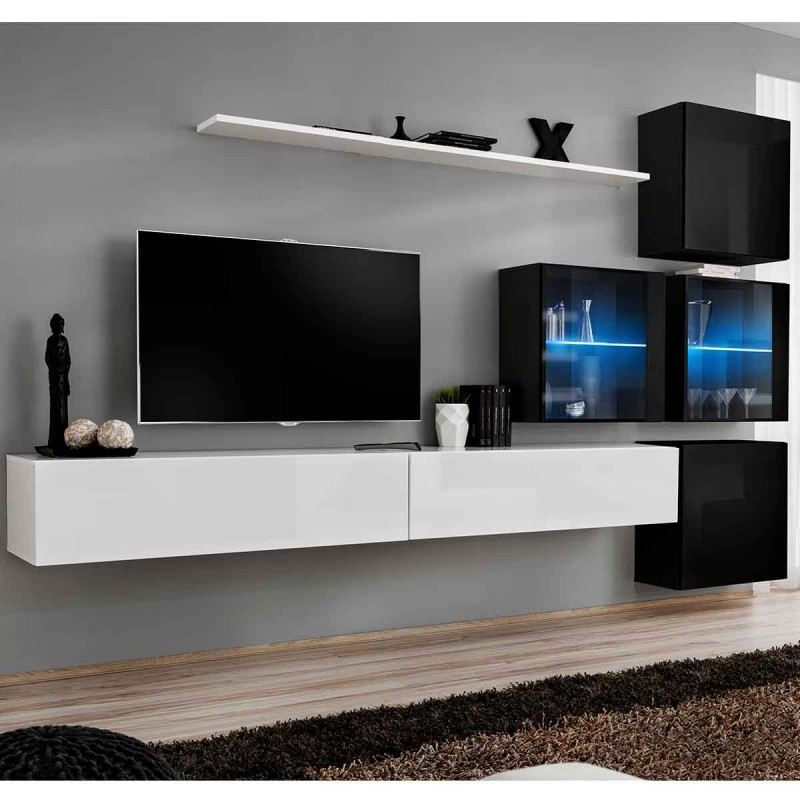 meuble tv mural design switch xix 310cm blanc noir. Black Bedroom Furniture Sets. Home Design Ideas