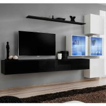 "Meuble TV Mural Design ""Switch XIX"" 310cm Noir & Blanc"