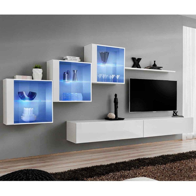 meuble tv mural design switch xx 330cm blanc. Black Bedroom Furniture Sets. Home Design Ideas