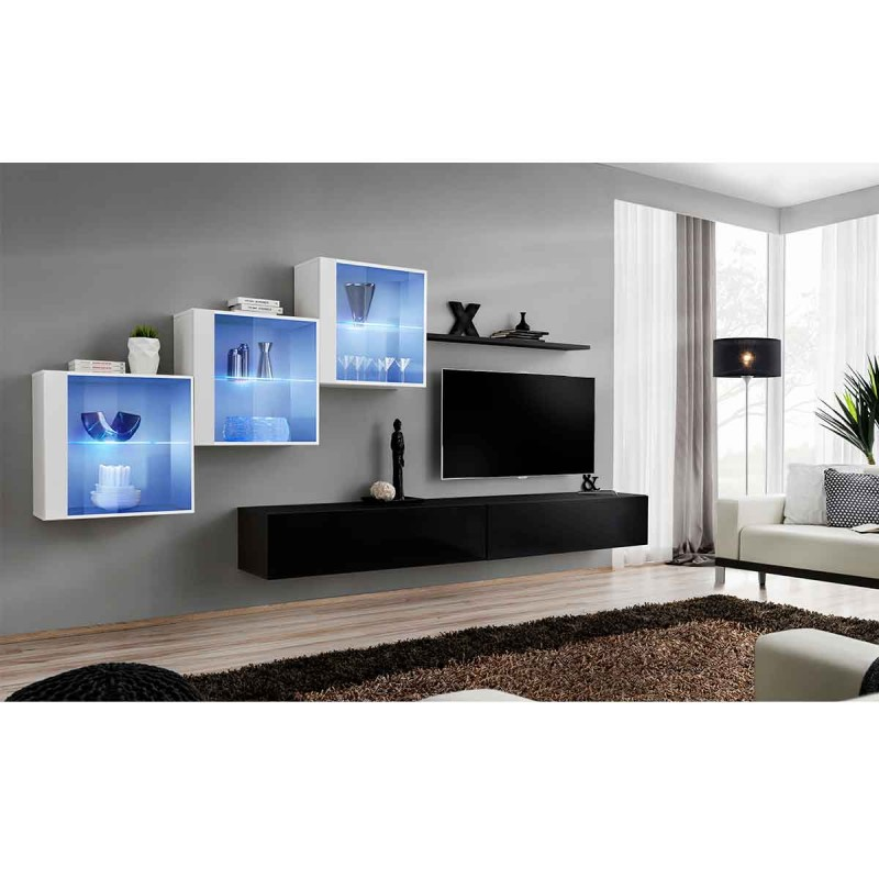 Meuble tv mural design switch xx 330cm noir blanc for Meuble mural 160 cm