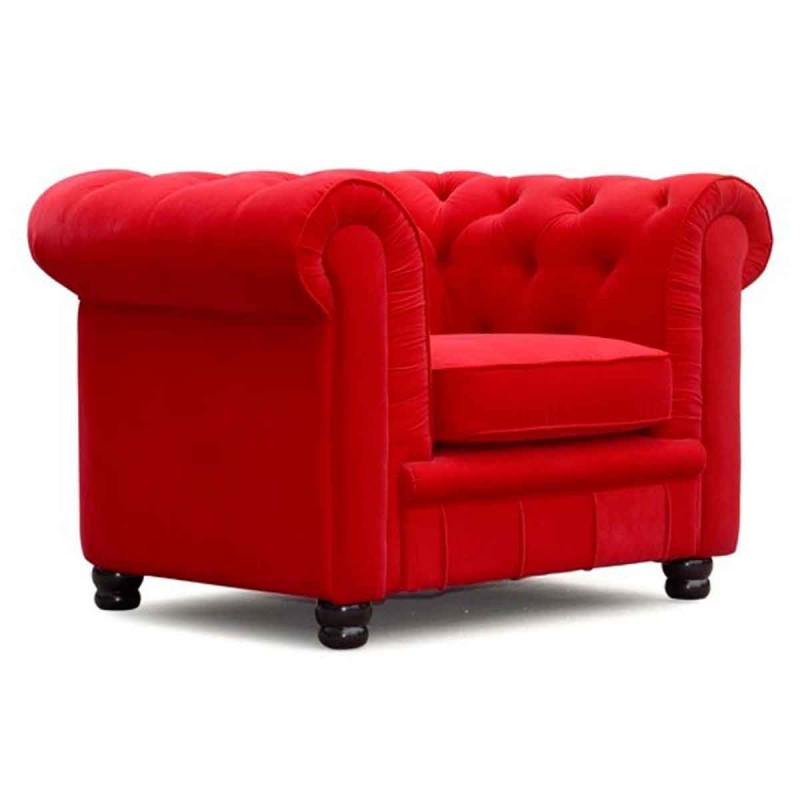 fauteuil design velours chesterfield ii 115cm rouge. Black Bedroom Furniture Sets. Home Design Ideas