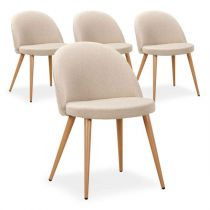 "Lot de 4 Chaises Design ""Morro"" 75cm Beige"