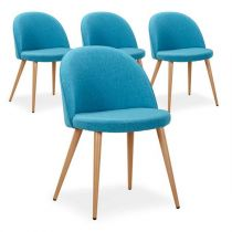 "Lot de 4 Chaises Design ""Morro"" 75cm Bleu"