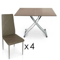 "Ensemble Table de Repas & 4 Chaises ""Higher"" Taupe"