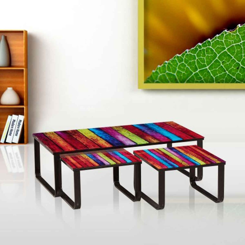 Set de 3 tables basses gigognes colow multicolore - Table basse multicolore ...