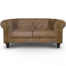 "Canapé 2 Places ""Chesterfield"" 157cm Marron Vintage"