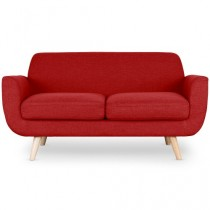 "Canapé 2 Places Scandinave ""Miramas"" 160cm Rouge"