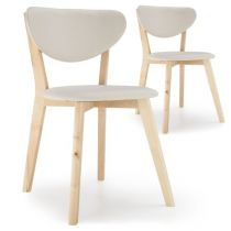 "Lot de 2 Chaises Scandinaves ""Alexandrie"" 79cm Beige"