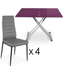"Ensemble Table & 4 Chaises Design ""Higher"" Violet & Gris"
