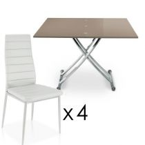"Ensemble Table & 4 Chaises Design ""Higher"" Blanc & Taupe"