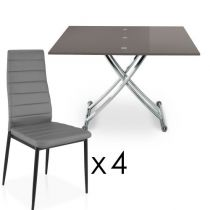"Ensemble Table & 4 Chaises Design ""Higher"" Gris Foncé"