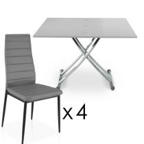 "Ensemble Table & 4 Chaises Design ""Higher"" Gris"