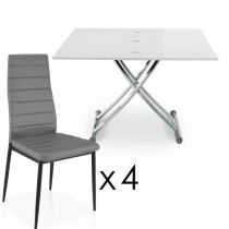 "Ensemble Table & 4 Chaises Design ""Higher"" Blanc & Gris"