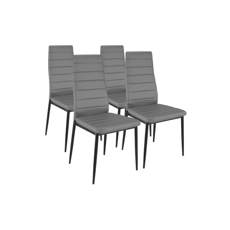 Ensemble table 4 chaises design higher blanc gris for Ensemble table chaise design