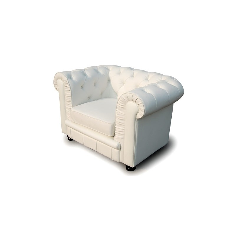 fauteuil design chesterfield ii 85cm blanc. Black Bedroom Furniture Sets. Home Design Ideas
