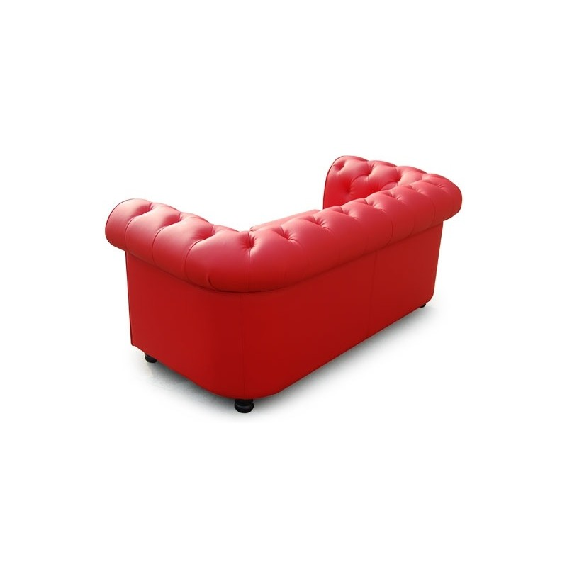 canap 2 places chesterfield ii 150cm rouge. Black Bedroom Furniture Sets. Home Design Ideas