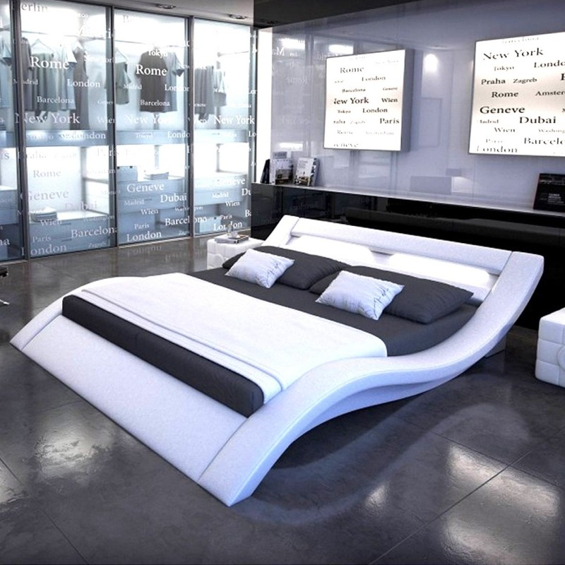 lit adulte design led donia 160x200cm blanc. Black Bedroom Furniture Sets. Home Design Ideas