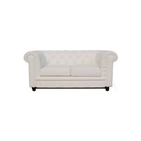 canap 2 places chesterfield ii 150cm blanc. Black Bedroom Furniture Sets. Home Design Ideas