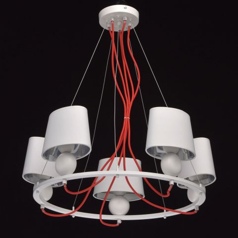 lustre suspension m tal tocoa 64cm blanc rouge. Black Bedroom Furniture Sets. Home Design Ideas