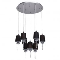 "Lampe Suspension 9 Têtes ""Ode"" 108cm Noir"