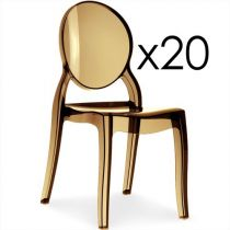 "Lot de 20 Chaises Design ""Beauty"" 89cm Ambre"